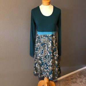 Prana Long Sleeve Empire Waist Green Paisley Dress